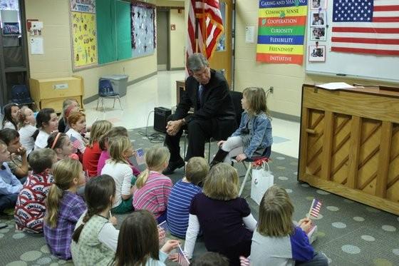 Roy Blunt visiting his granddaughter's first grade classroom in Kansas City. - VIA FACEBOOK