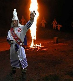 KKK imperial wizard Frank Ancona, shown here celebrating his white Christian male heritage. - VIA