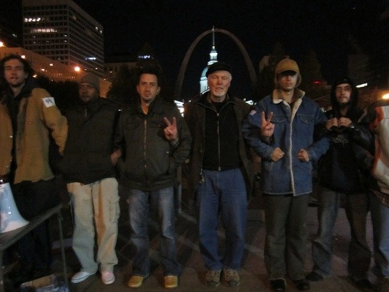 Occupy St. Louis members stand their ground and prepare to be arrested. - PHOTOS: TONY D'SOUZA