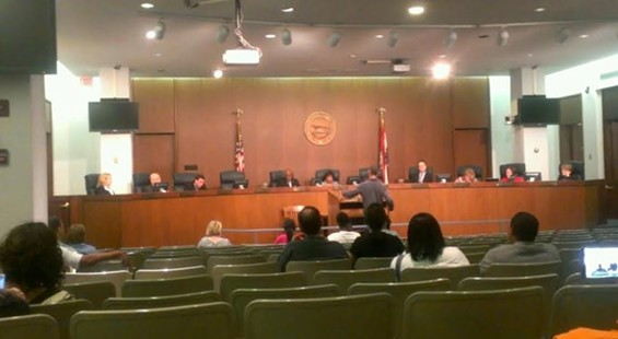 Many seats were available at the St. Louis County council meeting.