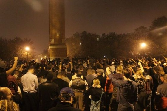 """Hundreds of students and protesters gathered around the Saint Louis University clock tower in October, and organizers demanded an end to """"white supremacy."""" - DANNY WICENTOWSKI"""