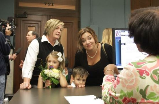 Kelley Harris and Kelly Barnard tied the knot on Wednesday night at the St. Louis Recorder's Office. - DANNY WICENTOWSKI