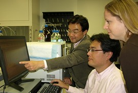 Shin-ichiro Imai, left, and two of his co-researchers: postdoctoral research associate Jun Yoshino and research lab supervisor Kathryn F. Mills. - COURTESY WASHINGTON UNIVERSITY MEDICAL SCHOOL