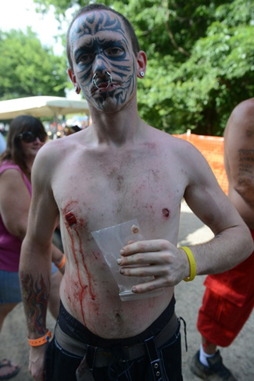 Gathering of juggalos tattoo faced man from viral mugshot for Cut off tattoo