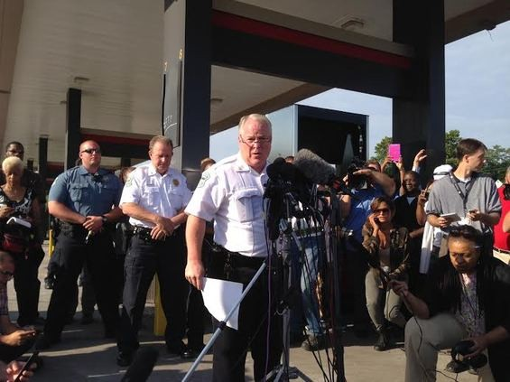 Ferguson police chief Tom Jackson reveals the name of the officer who shot Michael Brown. - CHAD GARRISON