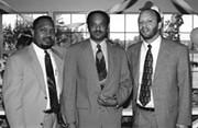 Johnson, center, with Wash U. classmates. - IMAGE VIA
