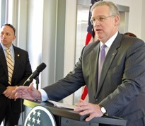 Governor Jay Nixon on Thursday in St. Louis. Nixon didn't offer up his thoughts on the transfer of power of the city's police.