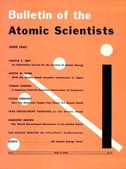 The first appearance of the Doomsday Clock on the June 1947 cover of Bulletin of the Atomic Scientists. - WIKIPEDIA