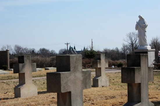 Incarnate Word Cemetery with St. Vincent's in the distance. - ALL PHOTOS BY CHRIS NAFFZIGER