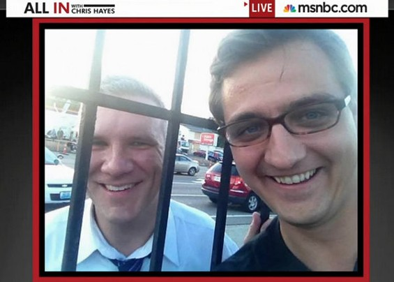 The two Chris Hayes met during the Ferguson protests last year and took this selfie together. - VIA