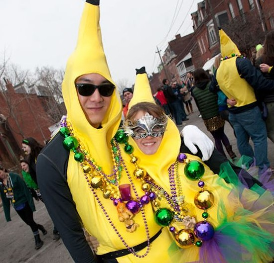 Avoiding banana people during Mardi Gras: Just part of a normal St. Louis commute. - JON GITCHOFF