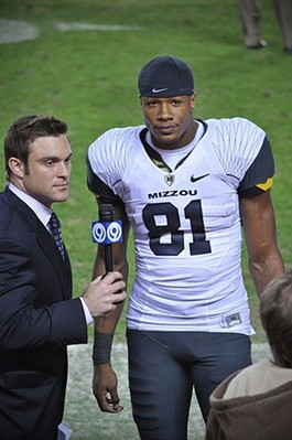 Danario Alexander being interviewed after an MU/KU border war game. - COMMONS.WIKIMEDIA.ORG