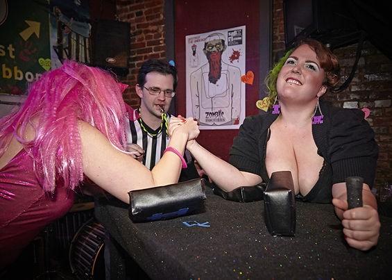 Arm-wrasslin' ladies at the Heartbreakers Brawl. - STEVE TRUESDELL