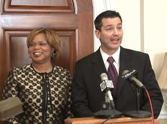 State Senators Jamilah Nasheed and Brian Nieves during Wednesday's press conference.. - OFFICE OF SEN. JAMILAH NASHEED