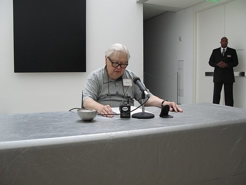 Gass last fall during his shift at the Pulitzer Center's day of Ovid, Marathon Metamorphoses. - IMAGE SOURCE