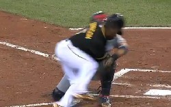 Josh Harrison knocks Yadier Molina down, but he's out.