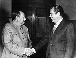 Nixon glad-handing in China, 1972.