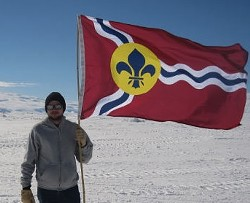 St. Louis flag...in Antarctica. - COURTESY OF RICHARD BOSE.