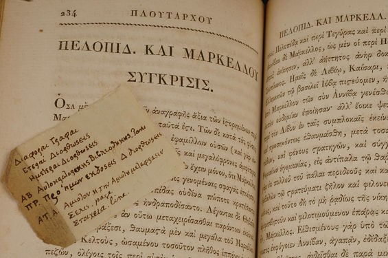 Jefferson's copy of Plutarch's Lives and a note he'd stashed inside -- both in Greek. - IMAGE VIA