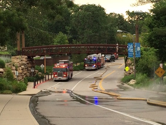 Firefighters at the south entrance to the zoo. - PHOTOS BY LINDSAY TOLER