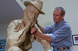 Weber working on a statue for the Jack Daniel's distillery.