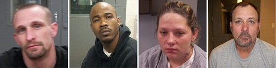 Left to right: Michael Wright freaked out; Sean Williams and Tracy Stodgell tortured; and Patrick Hallback watched, according to police. - RANDOLPH COUNTY SHERIFF'S OFFICE