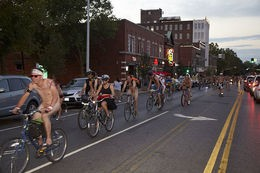 World Naked Bike Ride started at Grand St. on Saturday night. - STEVE TRUESDELL
