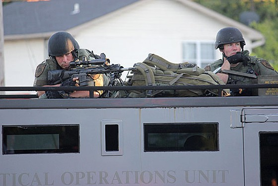 One of two snipers who monitored the crowd during Wednesday's protest.