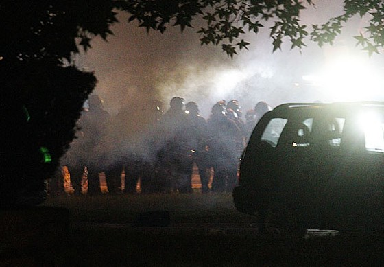 Tear gas drifted into Ferguson's residential streets.
