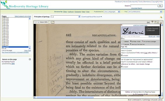 A screenshot from the Biodiversity Heritage Library showing Darwin's annotations on a page of Lyell's Principles of Geology.