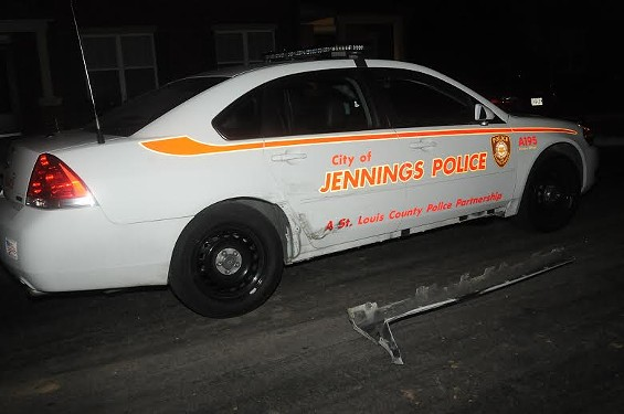 Police released this photo of one of the damaged police cars.
