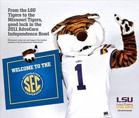 The half-page welcome ad from the LSU Tigers to the Missouri Tigers this past week. Quite a change from the Texas and Oklahoma Mafia family antics of the Big XII.