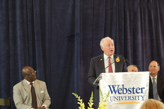 George Herbert Walker III with Webster University Dean of School of Business and Technology Benjamin Akande. - AMIR KURTOVIC