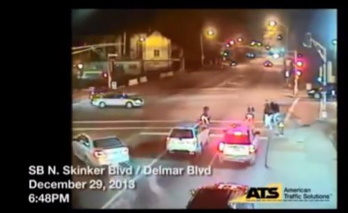 The victim's car heads to the left into oncoming traffic. - IMAGES VIA YOUTUBE