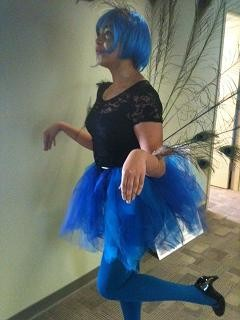 No joke: My colleague, Kholood, who was under the assumption that everyone would wear a costume to work today. (She's a peacock.)