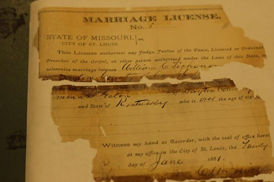 The Recorder of Deeds office holds nearly one-million marriage licenses. This is Missouri's first marriage license, signed in 1881 between William Lickman and Emma Gatch. - DANNY WICENTOWSKI