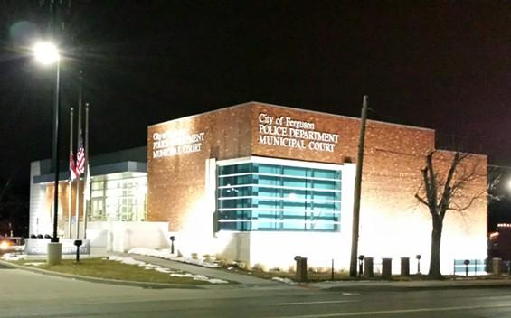Ferguson Police Station on Wednesday evening. - JESSICA LUSSENHOP