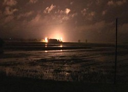 Explosives detonate the Birds Point levee last night. - ARMY CORP OF ENGINEERS VIA KFVS