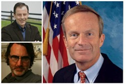 Rick Tyler, Akin's spokesperson top left, reporter Kevin McDermott lower left, and Rep. Todd Akin, right.
