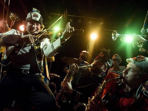 Mucca Pazza on Saturday night at the Firebird. See more photos of Mucca Pazza at the Firebird. - PHOTO: JON GITCHOFF