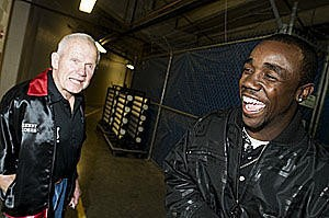 "DeAndre ""Bull"" Latimore with longtime trainer Kenny Loehr - PHOTO BY JENNIFER SILVERBERG"