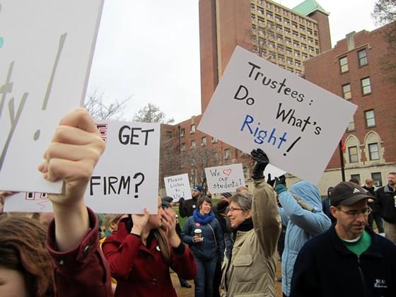 Protest against Biondi. - VIA FACEBOOK