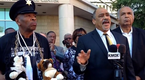 It's always easy to spot Anthony Shahid at a protest. - IMAGE VIA