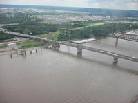 The Poplar Street Bridge (foreground) as viewed looking toward East St. Louis. - FLICKR.COM/PHOTOS/BKRAMME