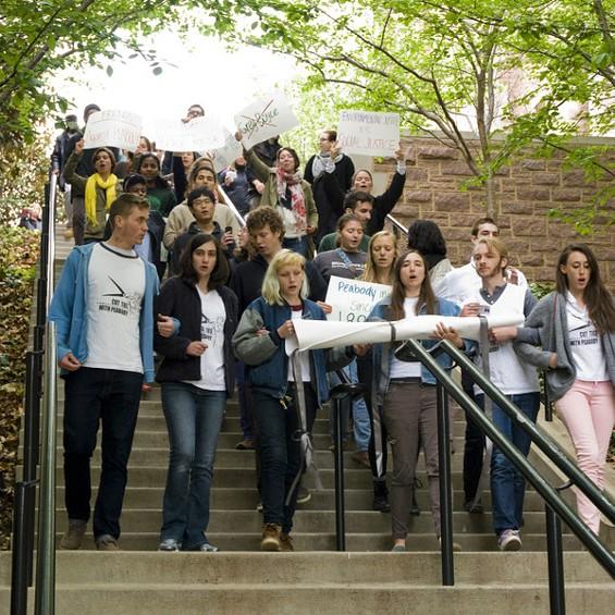 Students demonstrating at Washington University Friday.