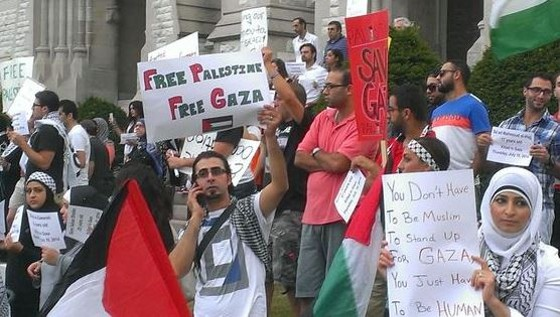 Supporters of Palestine held a vigil last year during the most recent war in Gaza. - RAY DOWNS