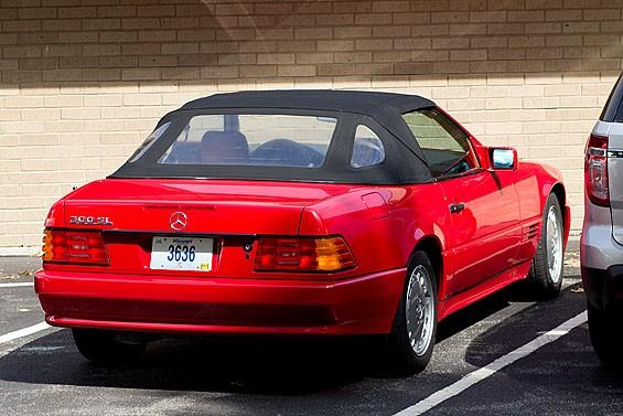 Mayor Mark Furrer's Mercedes parked outside Sunset Hills City Hall. - TOM CARLSON