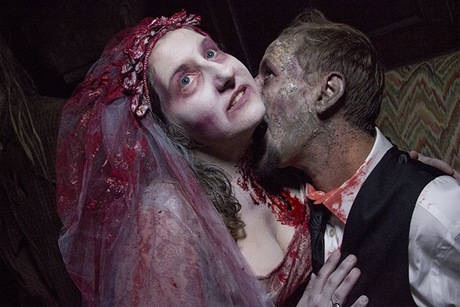 Stephanie Greenhalgh and Justin Ethridge, sharing the wedding of their nightmares. - DANNY WICENTOWSKI