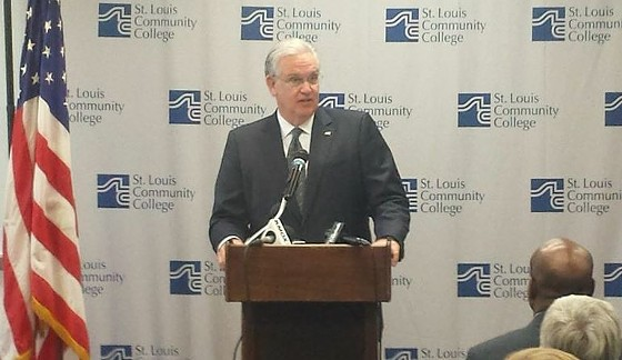 """On Tuesday, Missouri Governor Jay Nixon called for an """"unflinching"""" study of the St. Louis region's challenges in the wake of Michael Brown's death. - DANNY WICENTOWSKI"""