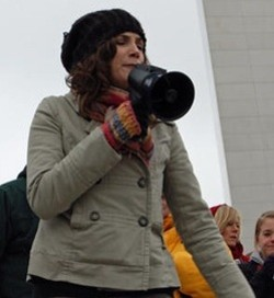 Dana Loesch riles up the crowd during one of the Tea Party's first rallies in February 2009 under the Gateway Arch.